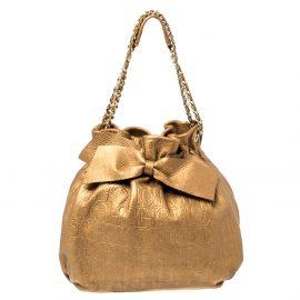 Carolina Herrera Golden Brown Embossed Leather Bow Bucket Shoulder Bag