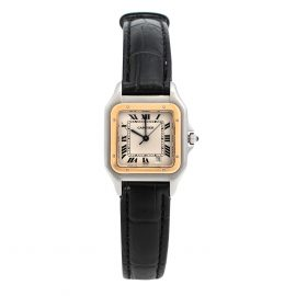 Cartier 18K Yellow Gold & Stainless Steel Panthere 1100 Women's Wristwatch 27 mm, White