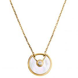 Cartier Amulette De Cartier Mother of Pearl Diamond 18K Yellow Gold Pendant Necklace XS