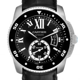 Cartier Black Stainless Steel Calibre Diver W7100056 Men's Wristwatch 42 MM
