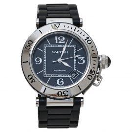 Cartier Black Stainless Steel Rubber Pasha de Cartier 2790 Men's Wristwatch 40.50 MM