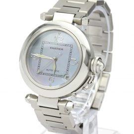Cartier Blue MOP Stainless Steel Pasha C Christmas LTD Edition W3104645 Women's Wristwatch 35 MM