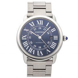 Cartier Blue Stainless Steel Ronde Solo WSRN0023 Men's Wristwatch 42 MM
