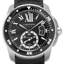 Cartier Calibre de Cartier W7100056, Roman Numerals, 2016, Good, Case material Steel, Bracelet material: Rubber