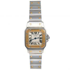Cartier Cream 18K Yellow Gold Stainless Steel Santos Galbée 1567 Women's Wristwatch 24 mm
