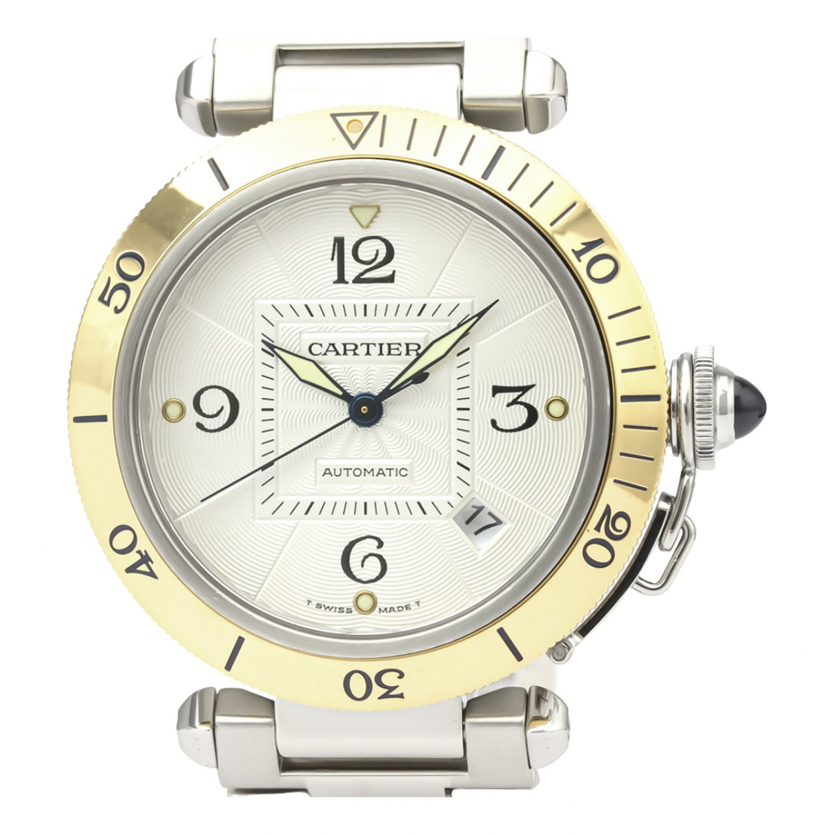 Cartier Pasha Silver gold and steel Watch for Men