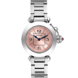 Cartier Pink Stainless Steel Miss Pasha Quartz W3140008 Women's Wristwatch 27 MM