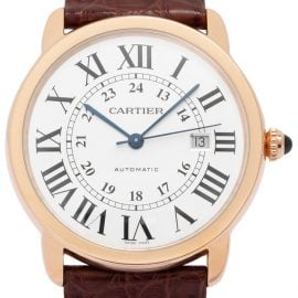 Cartier Ronde Solo W6701009, Roman Numerals, 2020, Good, Case material Rose Gold, Bracelet material: Leather