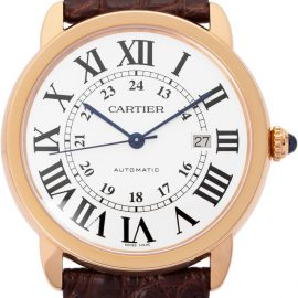 Cartier Ronde Solo W6701009, Roman Numerals, 2020, Very Good, Case material Rose Gold, Bracelet material: Leather