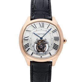 Cartier Silver 18K Rose Gold Drive De Cartier Flying Tourbillon W4100013 Men's Wristwatch 40 MM