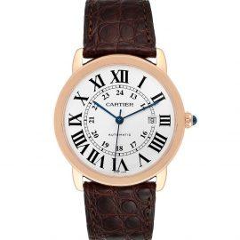 Cartier Silver 18K Rose Gold Ronde Solo XL W6701009 Men's Wristwatch 42 MM