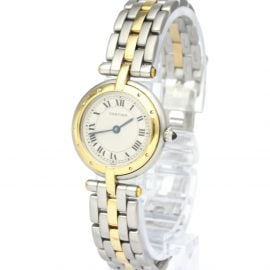 Cartier Silver 18K Yellow Gold And Stainless Steel Panthere Vendome Quartz Women's Wristwatch 24 MM
