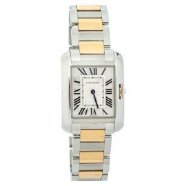 Cartier Silver 18K Yellow Gold & Stainless Steel Tank Anglaise 3704 Women's Wristwatch 26 mm, Silver