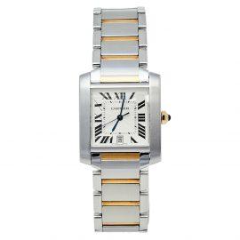 Cartier Silver 18K Yellow Gold & Stainless Steel Tank Francaise 2302 Women's Wristwatch 28 mm