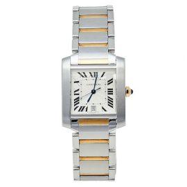 Cartier Silver 18K Yellow Gold & Stainless Steel Tank Francaise 2302 Women's Wristwatch 28 mm, Silver