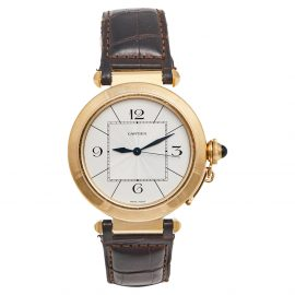 Cartier Silver 18k Yellow Gold Leather Pasha Jumbo W3018651 Men's Wristwatch 42 mm