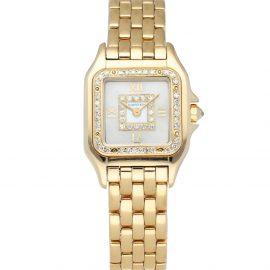 Cartier Silver Diamonds 18K Yellow Gold Panthere Women's Wristwatch 22 MM