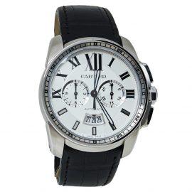 Cartier Silver Stainless Steel Calibre De Cartier 3578 Automatic Men's Wristwatch 42 MM, Silver