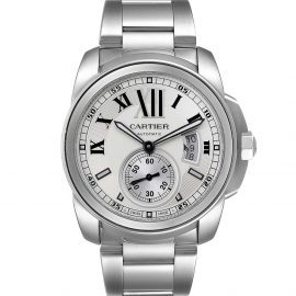 Cartier Silver Stainless Steel Calibre De Cartier Automatic W7100015 Men's Wristwatch 42 MM