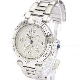 Cartier Silver Stainless Steel Pasha Automatic W31031H3 Men's Wristwatch 38 MM