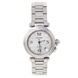 Cartier Silver Stainless Steel Pasha de Cartier 2324 Women's Wristwatch 35 mm, Silver