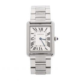 Cartier Silver Stainless Steel Tank Solo 3169 Men's Wristwatch 27 mm