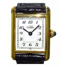 Cartier Tank Must Black Silver Watch for Women