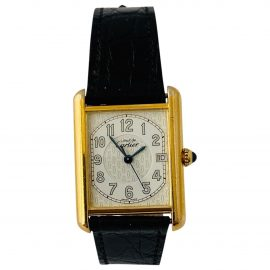 Cartier Tank Must White Silver Gilt Watch for Men