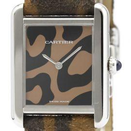 Cartier Tank Solo Quartz Stainless Steel Unisex Dress Watch W5200016, Black
