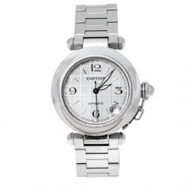 Cartier White Stainless Steel Pasha de Cartier 2324 Women's Wristwatch 35 mm, Silver
