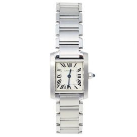 Cartier White Stainless Steel Tank Francaise 2384 Women's Wristwatch 20 mm, White