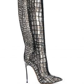 Casadei Blade metallic knee-high boots - SILVER