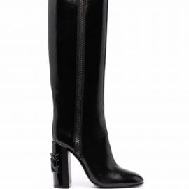 Casadei C-Chain over-the-knee 100mm leather boots - Black
