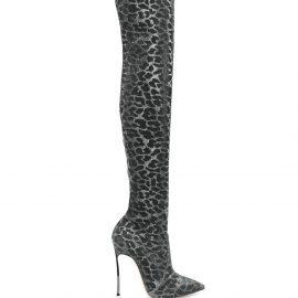 Casadei animal print thigh-high boots - Metallic