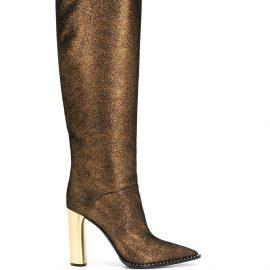 Casadei glitter metallic heel knee-high boots - GOLD