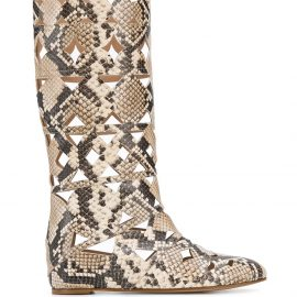 Casadei snake print cut-out boots - Neutrals