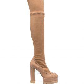 Casadei thigh-high platform boots - Neutrals
