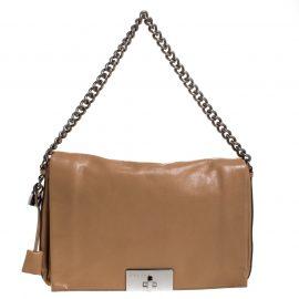 Celine Beige Leather Turnlock Flap Shoulder Bag
