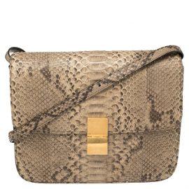 Celine Beige Python Large Classic Box Shoulder Bag