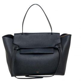 Celine Black Leather Small Belt Top Handle Bag