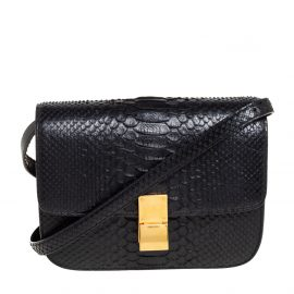 Celine Black Python Medium Classic Box Shoulder Bag