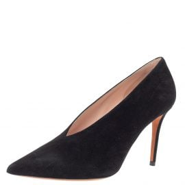 Celine Black Suede V Cut Pointed Toe Pumps Size 39