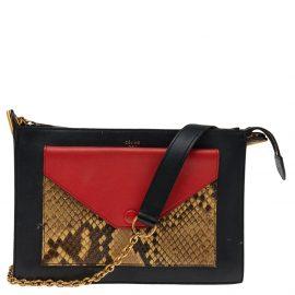 Celine Black/Red Python Leather Pocket Envelope Shoulder Bag