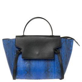 Celine Blue/Black Python and Leather Mini Belt Top Handle Bag
