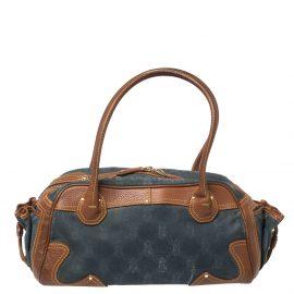 Celine Blue/Brown Macadam Denim and Leather Drawstring Pocket Satchel