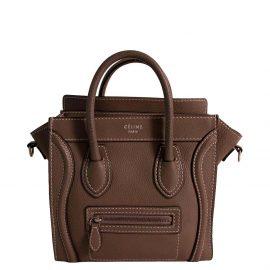 Celine Brown Leather Nano Luggage Tote Bag