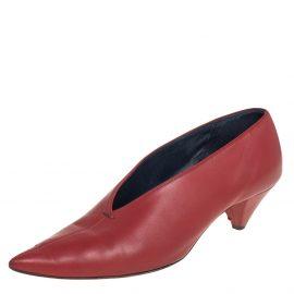 Celine Brown Leather V Neck Pointed Toe Pumps Size 38
