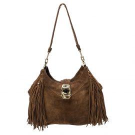 Celine Brown Suede and Leather Fringe Dimitri Shoulder Bag