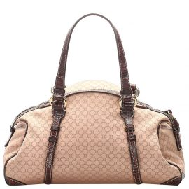 Celine Brown/Beige Canvas Leather Macadam Shoulder Bag