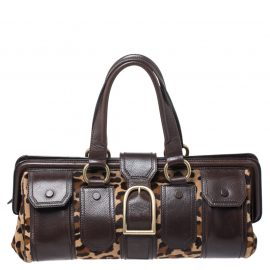 Celine Brown/Beige Leopard Print Calfhair and Leather Satchel